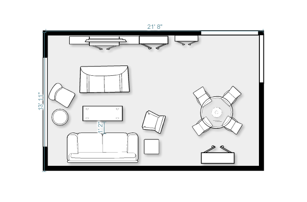 Living room floor plan interior design for Living room floor plans